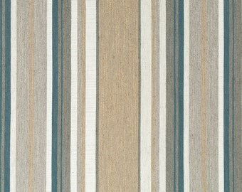 Dark Teal and Taupe Upholstery Fabric by the Yard - Contemporary Ivory Woven Striped Material - Beige Striped Fabric - Dark Teal Pillows