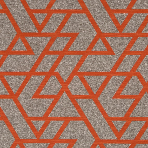 Orange geometric upholstery fabric taupe home decor for Modern home decor fabric