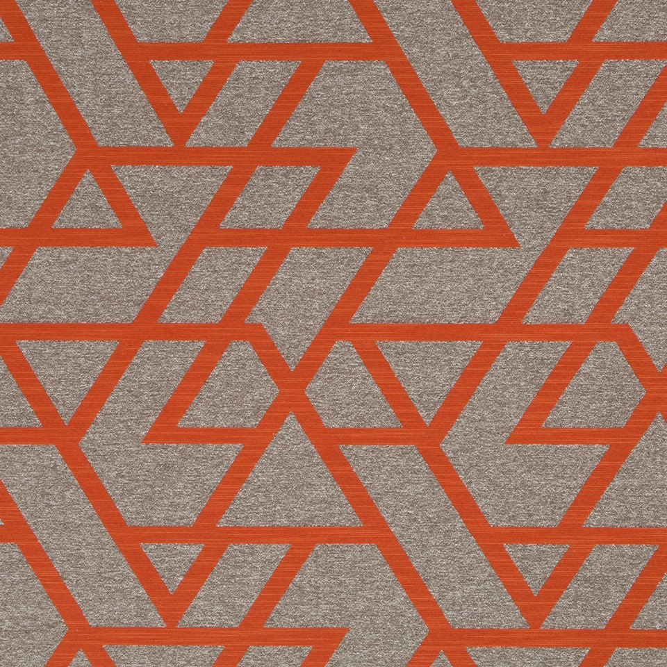 Orange geometric upholstery fabric taupe home decor for Where can you get fabric