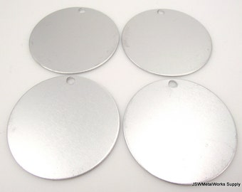 "5 1.5 Inch Frost Aluminum Tags, Extra Large Blank Discs, 1.5"" Anodized Aluminum Blanks"