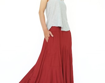 NO.136 Red Rayon Spandex Softly Softly Asymmetrical Skirt, Long Maxi Skirt