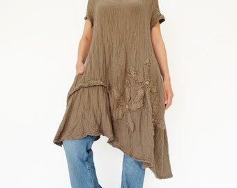 NO.200 Brown Double Cotton Gauze Floral Appliqué Tunic Dress, Short Sleeves Tunic, Women's Dress