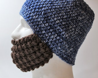 Crochet Bearded Skullcap - Beard Hat - Blue Hat With Beard Face Warmer - Ready To Ship!