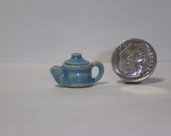 New Handmade Wheel Thrown Pottery Miniature Turquoise Tea Pot