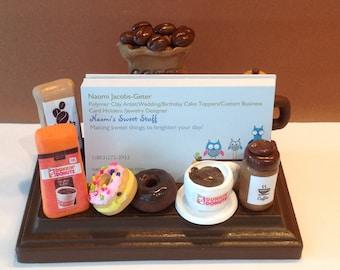 Polymer clay coffee business card holder, card holder,coffee shop,