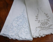 Maderia Tea Towel, Guest Towels, Lot of Two Towels, Vintage 1950s, LInen Towels, Portugal LInen, Maderia, Vintage decor,