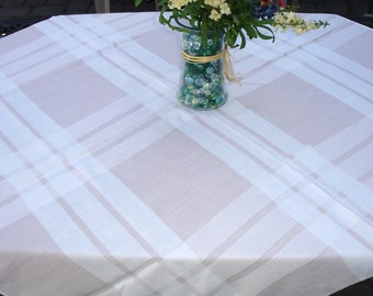 "Table cloth Vintage, 52x48"", Vintage Tablecloth, 1970s decor, Checkered, Tan and White, Home decor, Indoor outdoor dining, Kitchen table"