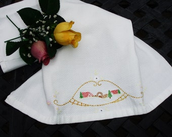 "Huck Towel, Embroidered  Towel, handmade, hand embroidered, 1950s kitchen, Kitchen towel, 19x16"", kitchen linens, vintage towel"