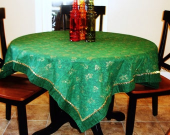"Tablecloth, Christmas Tablecloth, Cherubs, Green and Gold, Holiday dining, Christmas Kitchen Linens, 52x53"" Square Tablecloth"