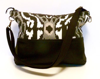 LARGE CROSS BODY - Large Zippered Hobo Bag - Black Faux Leather Bottom  - Sherpa Print Vegan Bag -  Handmade Canvas Purse