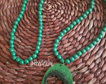 Africa Wood Bead Necklace-Green