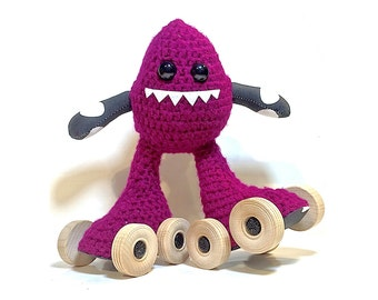 Dark Fuchsia/B&W Dots, Crochet Skate Monster