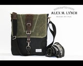 Large Waxed Canvas Messenger bag - vertical bag - handmade - BLACK and MILITARY GREEN + leather accents. model LV0010