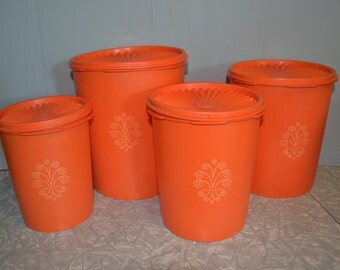 Vintage Orange Tupperware Canisters ~ Vintage Kitchen ~ Storage ~ Epsteam