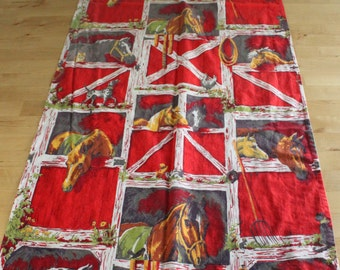 "Vintage 1960s fabric Happy Horse Barn Yard, Western Table RUNNER, Red barn 58"" by 20"", Horses , dogs and cats"
