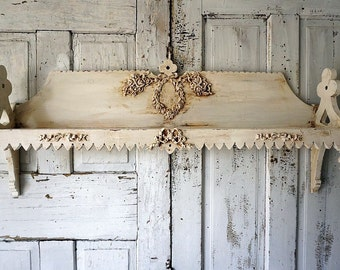Long ornate wall shelf distressed shabby cottage chic white ivory salvaged embellished rose appliques handmade home decor anita spero design