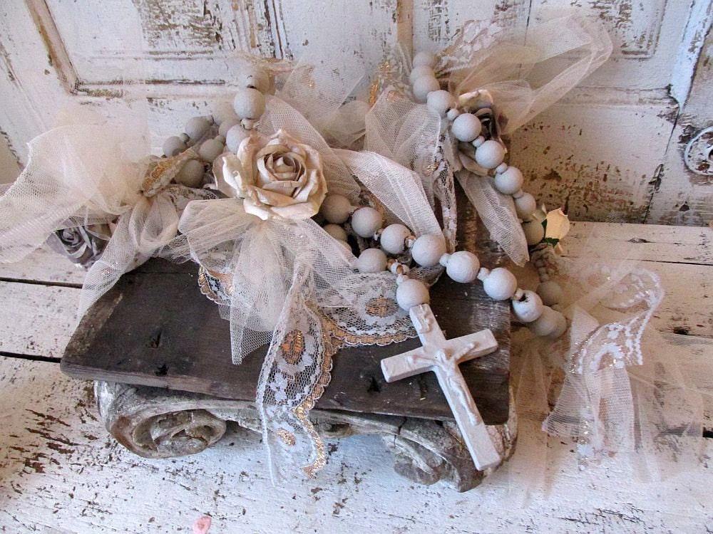 Huge Rosary Wall Hanging Painted Taupe Gray By