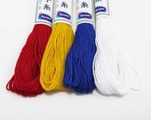 Sashiko Thread Set | Primary Colors 4 Skeins Cotton Japanese Embroidery Thread for Sashiko, Hand Quilting, Hand Embroidery