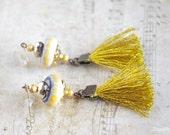 Boho Fringe Earrings / Gold Yellow tassel Earring dangle / Textile and ceramic Jewelry