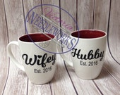 Wedding Coffee Mugs - Hubby and Wifey - Gift for New Couple - Newly wedded Gift - Bridal Shower Gift - Housewarming Gift - Mr and Mrs Gift