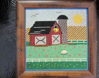 "Vintage Needlepoint Framed Pictures ""Farm Scenes"" 2 Variations (Finished)"