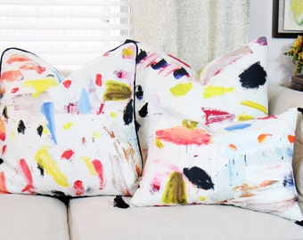 Pierre Frey Arty - Contemporary Modern Multi Colored Pillow Cover - Blue Coral Black Pink Yellow Orange - Brush Stroked Linen Pillow Cover