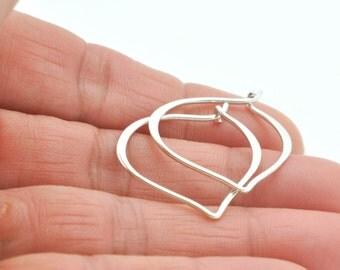 Lotus Earrings, Small Lotus Earrings, Sterling Silver Hoop Earrings, Fashion Earrings, Yoga Earrings, Bohemian Earrings, Silver Earrings