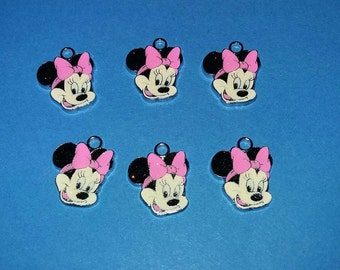 Six PINK enamel Minnie Mouse clip charms for zipper pull, purse, bookbags, cellphones, jewelry making, scrapbooking or birthday party gifts.