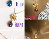 Gold lotus flower necklace,Amethyst purple fuschia Emerald green blue crystal jewelry set,bridal necklace and earrings set purple green