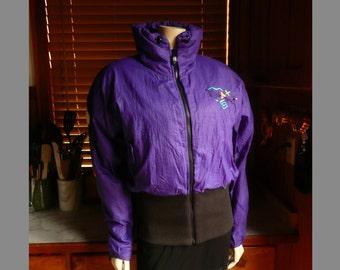 Vintage 90s Obermeyer Purple Scribble oversized Hip Hop Ski Jacket 10 12