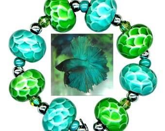 "USA Handmade Lampwork Glass ""Scales"" Blue Green Bead Set"