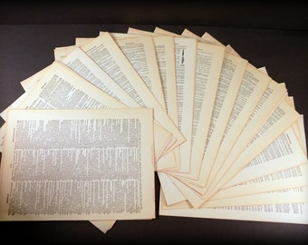 50 Vintage Dictionary Pages for Printing - Supplies - Old Book Pages - Letterpress Typography - Paper Packet