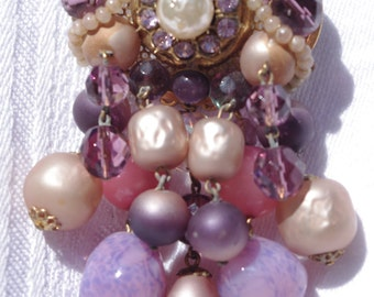 Unusual Vintage Brooch / Pin: Purple & Ivory Pearl Rhinestone Moonstone Dangles 1950s