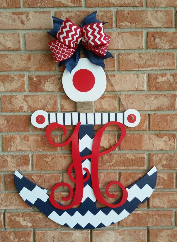 Wooden anchor door hanger nautical decor initial door for Anchor door decoration