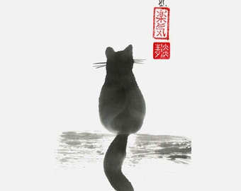 """Cat Art - """"Sitting Cat"""" - japanese art - sumie- black and white - Wall art- cat painting - wall decor- gift for her - asian art - dorm decor"""