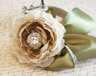 Country rustic wedding, Pet Wedding Accessory, Neutral color, Flower and Rhinestone, Pet Lovers, Choker
