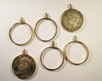 6 Goldplated Eisenhower Dollar Liberty Dollar Coin Bezels Coin Holders