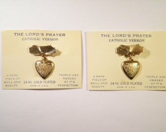 """12 Vintage 14 Kt. Goldplated """"The Lord's Prayer"""" Catholic Version Heart Lapel Pins"""