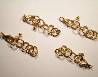 """8 Vintage Goldplated 2"""" Extender Chains with Lobster Claw Clasp"""