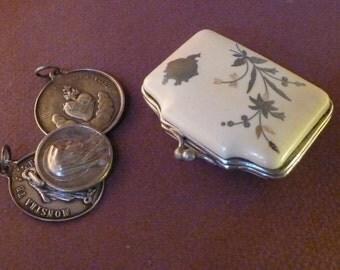 ANTIQUE Art Nouveau  little French coin purse  Bakelite Mother of pearl & silver 1900 Wallet pouch   Money clips