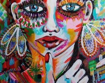 Portrait Original Painting Canvas - Contemporary Art Face Woman - Lips - Eyes - Canvas Original Portrait Wall Art - Portrait Fine Art - Art