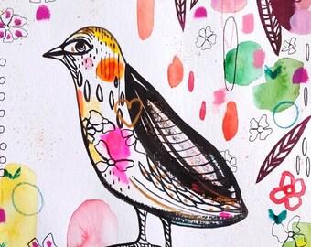 Bird Painting - Bird Watercolor - Cute Bird Original Painting Home Decor Art Bird Pink Green - Bird Wall Art - Bird Fine Art - Nature Animal