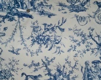 SCHUMACHER Le Couronnement De La Rosiere FRENCH TOILE Fabric 10 yards Blue