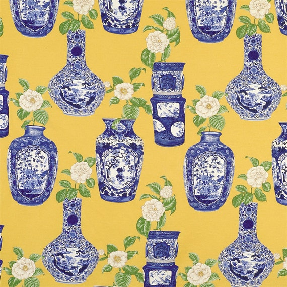Scalamandre Chinoiserie Oriental Ming Vases Toile Fabric 10