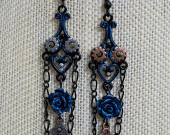 Blue Roses with Keys and Gears Earrings