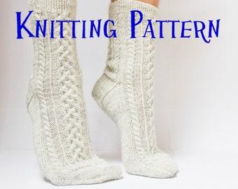 Instant Download PDF Knitting Pattern - Cove Socks, Womens Cabled Sock pattern, knit socks pattern, sock instructions, DIY knit socks