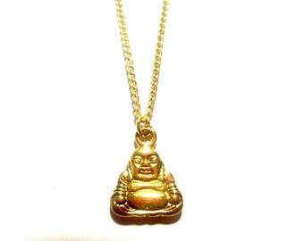 Gold Buddha Necklace. Yoga Necklace. Yoga Jewelry. Meditation Necklace. Buddha Charm.