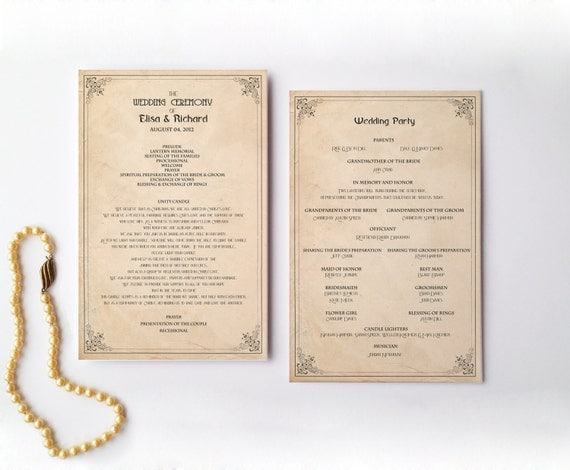Items Similar To Retro Wedding Program Order Of Service