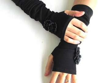Black Fingerless Gloves Arm Warmers Black Arm Warmers Fingerless Gloves.