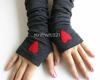 Hearts Dark Grey Arm Warmers- Fingerless Knit Gloves-Grey Gloves -Valentine Gloves